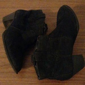 Black suede feel booties